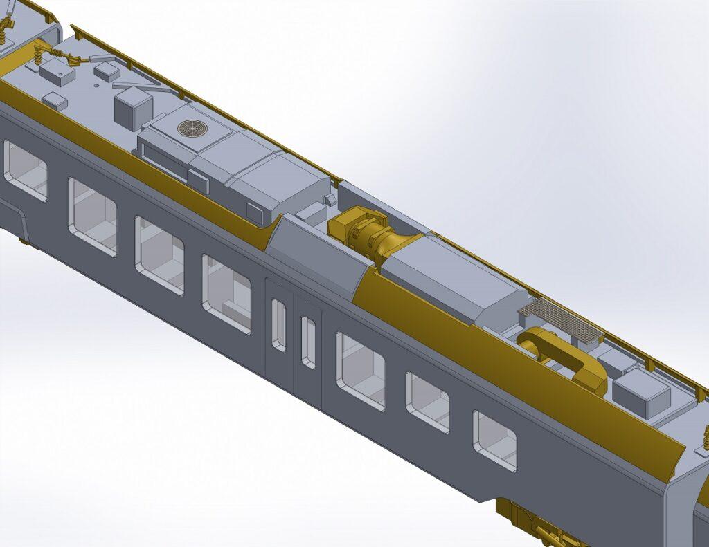 CAD-Render des Traverso-Wagen H mit Dachlandschaft (angetriebener Mittelwagen)