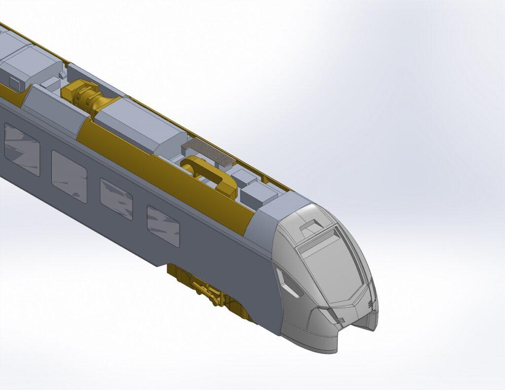 CAD-Render des Traverso-Endwagen B mit provisorischer Front